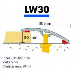 AL Prechodová lišta narážacia 30mm, Dub Avero 28, Cezar