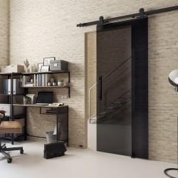 Posuvný systém VOSTER typ Loft Glass + dvere + úchyt (Grafit sklo)